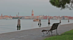 Morning Venice landscape with river water tram swimming throw the sea channel Stock Footage