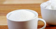 Cup of sugar powder and sugar cube Stock Footage