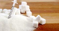 Syringe in sugar powder Stock Footage