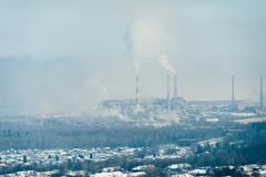 Paper mill polluting air and water at Lake Baikal, Russia Stock Photos