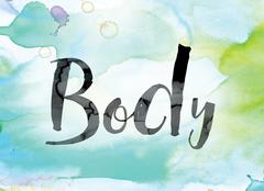 Body Colorful Watercolor and Ink Word Art Stock Illustration