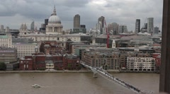 High angle view of St Pauls and Millenium bridge Stock Footage