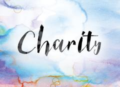 Charity Colorful Watercolor and Ink Word Art Piirros