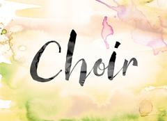 Choir Colorful Watercolor and Ink Word Art Stock Illustration