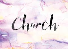 Church Colorful Watercolor and Ink Word Art Stock Illustration