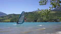 Windsurf and Kite surf on the lake Stock Footage