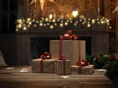 Beautiful gift with Christmas ornaments. 3d rendering Stock Illustration