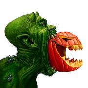 Monster Eating Jack O Lantern Stock Illustration