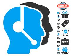 Call Center Operators Icon With Free Bonus Stock Illustration