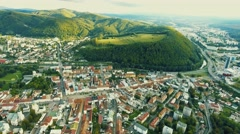 Aerial view of slovak town Banska Bystrica surrounded by mountains Stock Footage
