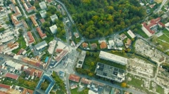 Aerial view of streets of slovak town Banska Bystrica Stock Footage