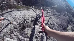 Climbing via ferrata Stock Footage