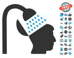 Open Mind Shower Icon With Free Bonus Stock Illustration