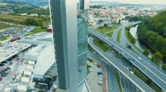 Aerial view of high building in slovak town Banska Bystrica surrounded by Stock Footage