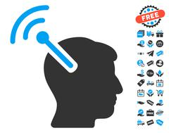 Radio Neural Interface Icon With Free Bonus Stock Illustration