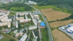 Aerial view of slovak town Zvolen surrounded by mountains Stock Footage