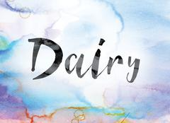 Dairy Colorful Watercolor and Ink Word Art Stock Illustration