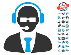 Support Manager Icon With Free Bonus Stock Illustration