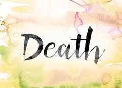 Death Colorful Watercolor and Ink Word Art Stock Illustration