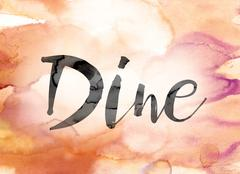 Dine Colorful Watercolor and Ink Word Art Stock Illustration