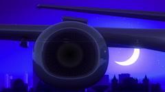 Albany New York USA America Airplane Take Off Moon Night Blue Skyline Travel Arkistovideo