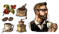 Hipster barista holding a cup of hot coffee. Sack with coffee beans with wood Stock Illustration