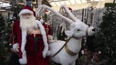 Santa and Reindeer Christmas Display Stock Footage