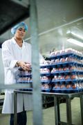 Female staff arranging egg carton next to production line Stock Photos