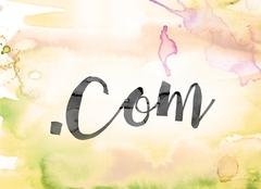 Dot Com Colorful Watercolor and Ink Word Art Stock Illustration