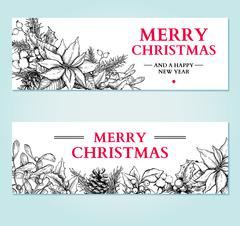 Christmas banner. Vector hand drawn illustration with holly, mis Stock Illustration