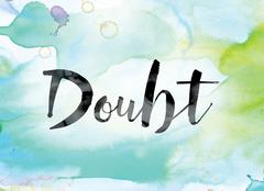 Doubt Colorful Watercolor and Ink Word Art Stock Illustration