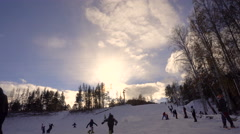 Track Athletes Ski Resort in the Riser Taymlaps Stock Footage