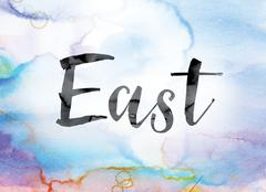 East Colorful Watercolor and Ink Word Art Stock Illustration