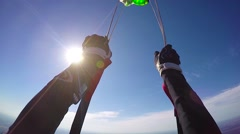 Parachute openning pov Stock Footage