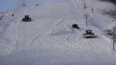 Snowcat Prepared Ski Slopes Mountain Winter Stock Footage