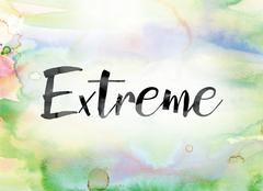 Extreme Colorful Watercolor and Ink Word Art Stock Illustration