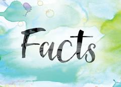Facts Colorful Watercolor and Ink Word Art Stock Illustration