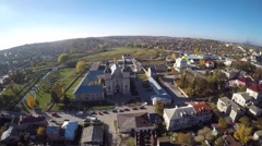 Aerial view of an ancient Bernardine Cathedral & monastery in Zbarazh Zbaraz Stock Footage