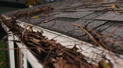 Rising From Clogged Gutter to Roof Shingles Stock Footage