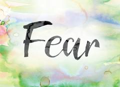 Fear Colorful Watercolor and Ink Word Art Stock Illustration