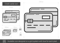 Credit cards line icon Piirros