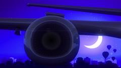 Albuquerque New Mexico USA America Airplane Take Off Moon Night Blue Skyline Stock Footage
