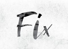 Fix Concept Painted in Ink Stock Illustration