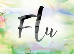 Flu Colorful Watercolor and Ink Word Art Stock Illustration