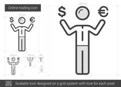 Online trading line icon Stock Illustration