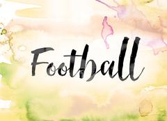 Football Colorful Watercolor and Ink Word Art Stock Illustration
