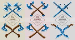 Medieval weapons of ancient vikings Stock Illustration