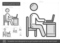 Working person line icon Stock Illustration