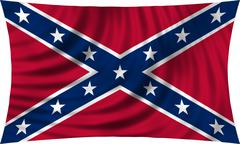 Confederate rebel flag waving isolated on white Stock Photos