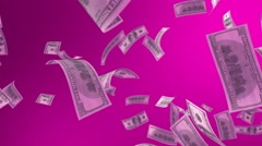 Falling Dollar on a Pink Background Stock Footage